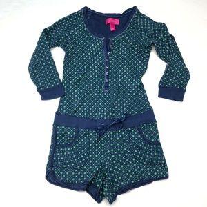 Victoria's Secret Blue Green Polka Dots Romper PJ